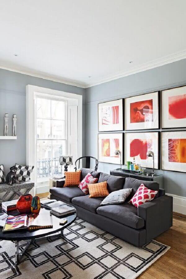 quadro para parede de sala com sofá cinza Foto Pinterest