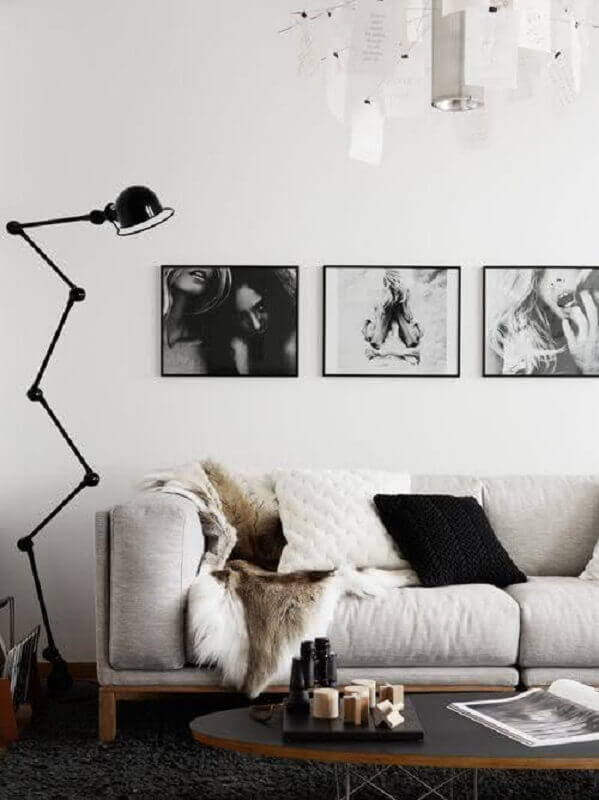 quadro para parede de sala de estar branca e preta Foto Deavita