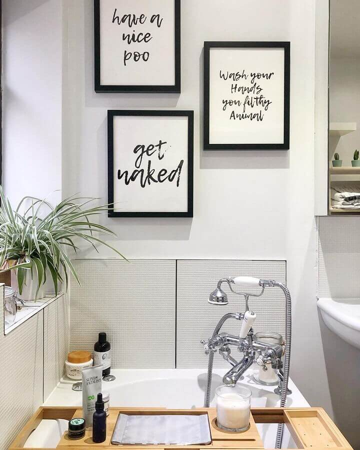 quadros com frases para banheiro planejado Foto Home Fashion Trend