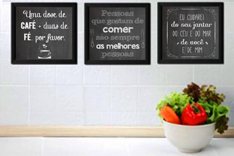 quadros com frases para cozinha Foto Pinterest