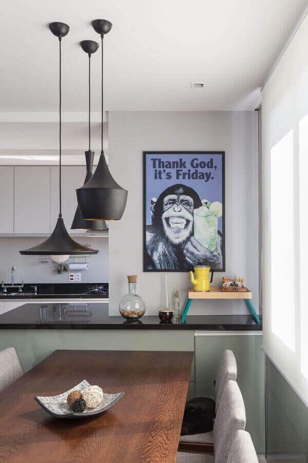 quadros com frases para cozinha americana com sala de jantar Foto Wood Save