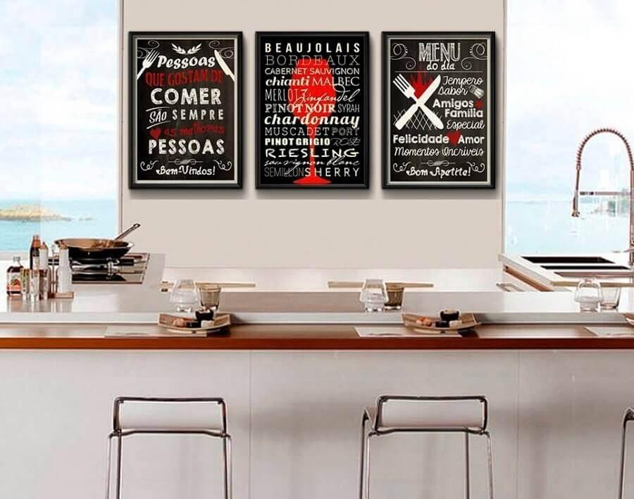 quadros com frases para cozinha gourmet decorada Foto Pinterest