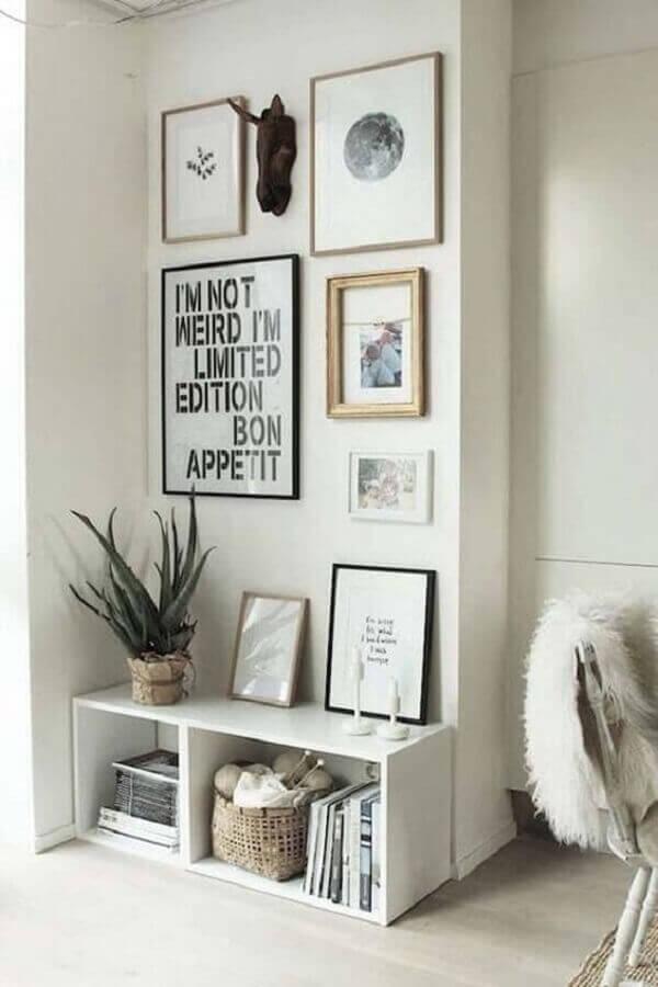 quadros com frases para decoração clean Foto Revista VD