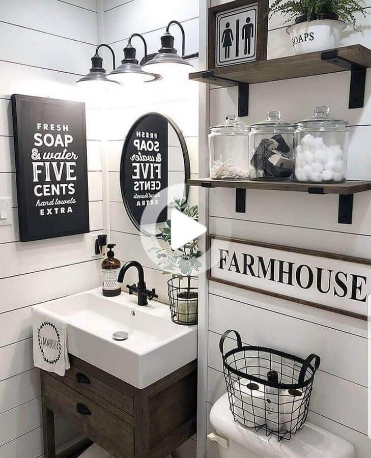 quadros com frases para decoração de banheiro simples e rústico Foto Pinterest