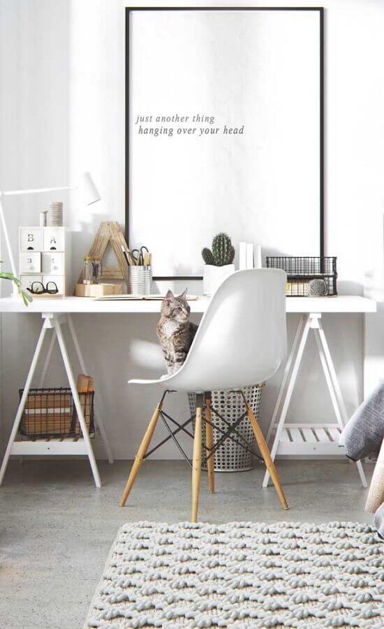 quadros com frases para decoração de home office minimalista Foto Pinterest