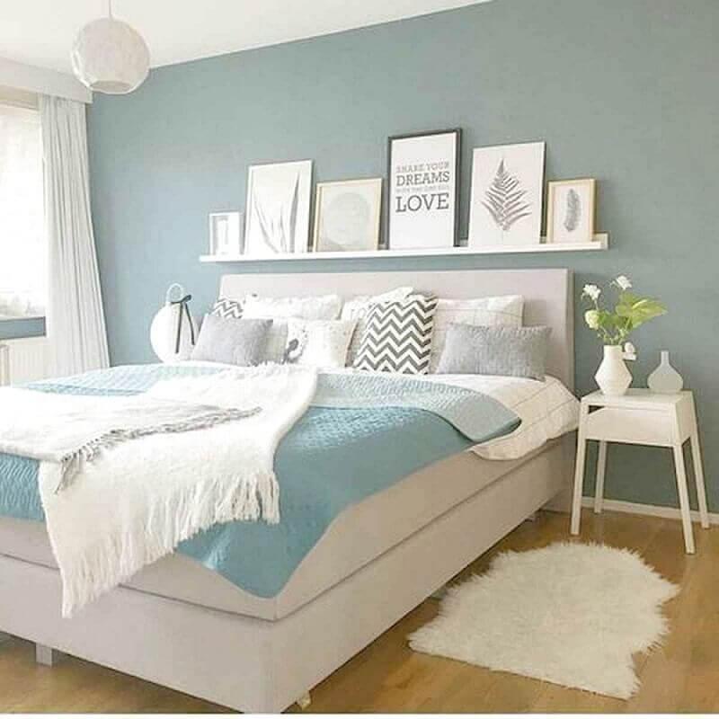 quadros com frases para quarto de casal branco e azul Foto Fashion Shop
