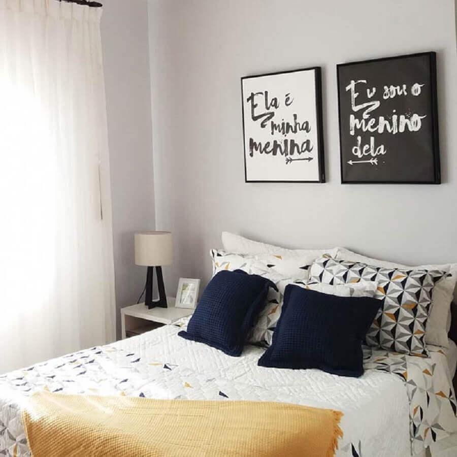 quadros com frases para quarto de casal simples Foto Pinterest
