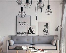 quadros com frases para sala minimalista com luminária aramada preta  Foto Chateau de Conques