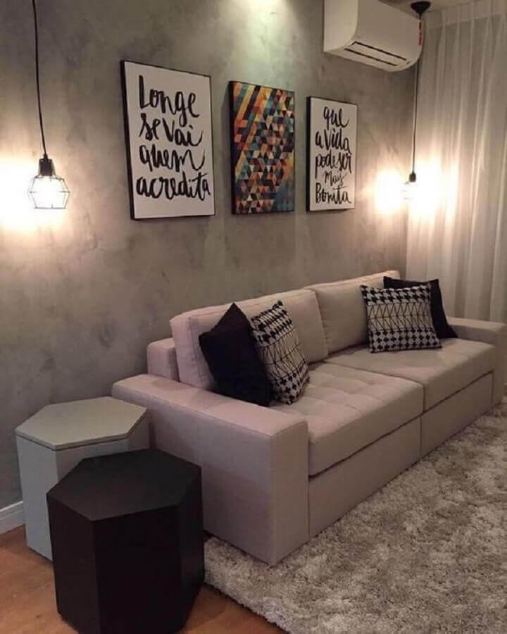 quadros com frases para sala moderna decorada com pendente aramado preto Foto Pinterest
