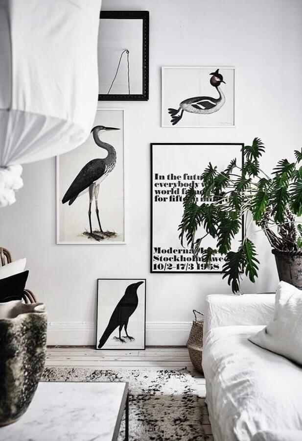 quadros com frases para sala toda branca Foto Pinterest