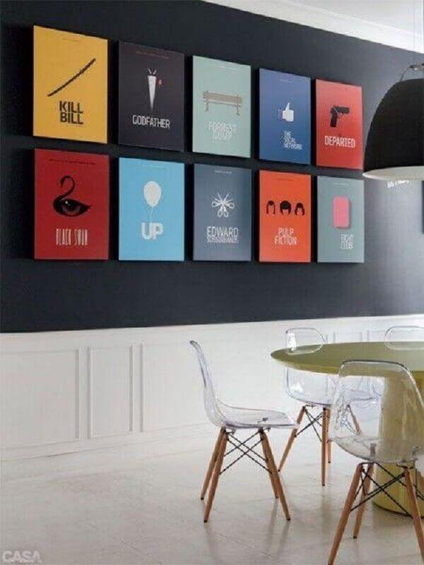 quadros de parede coloridos para sala de jantar Foto Muito Chique