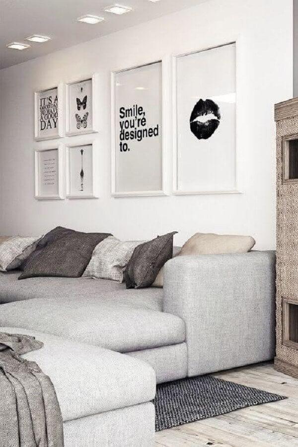 quadros de parede decorativos para sala branca Foto Archzine