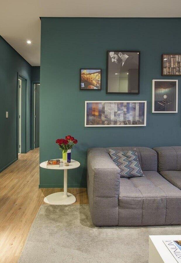 quadros de parede para decoração de sala verde e cinza Foto Pinterest