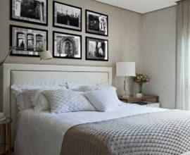 quarto de casal neutro decoardo com cabeceira queen estofada branca Foto Casa de Valentina