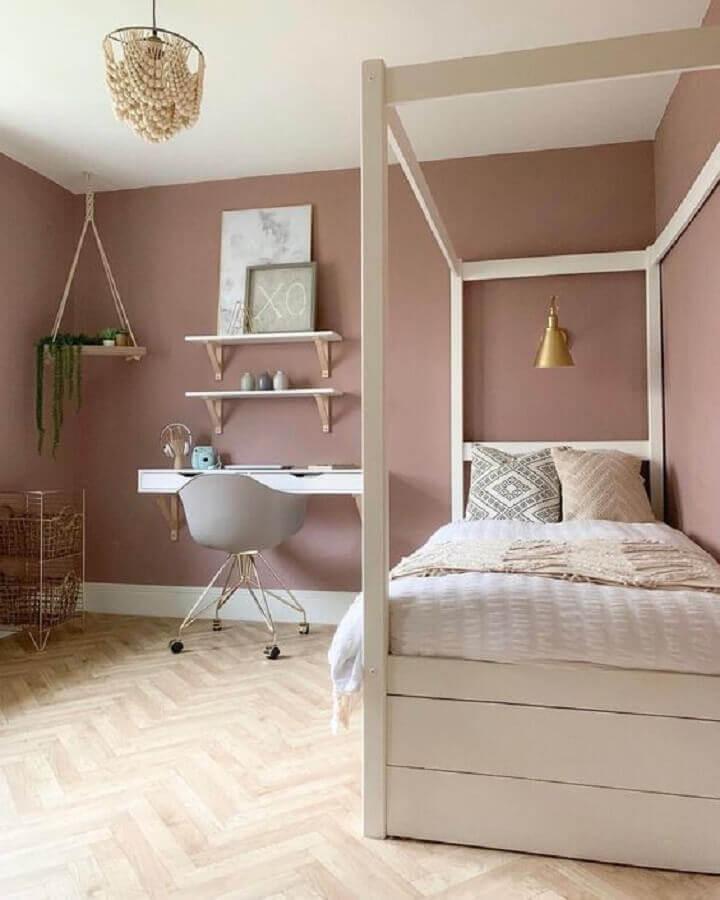 quarto feminino moderno decorado na cor rosa quartzo Foto Pinterest