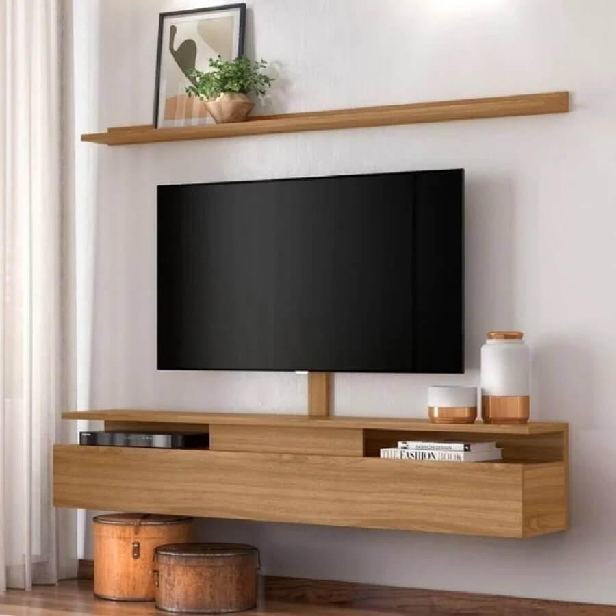 rack e prateleira suspensa para sala de tv Foto Pinterest