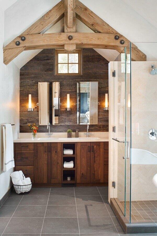 revestimento de madeira para decoração de banheiro rústico Foto Elle Decor
