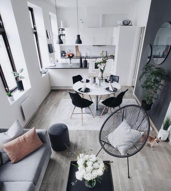 Monte sua sala moderna e minimalista com muito conforto