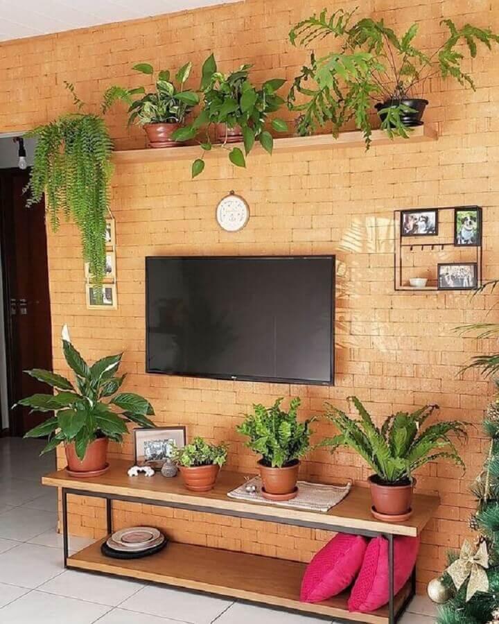 sala de estar decorada com prateleira suspensa para plantas e parede de tijolinho à vista Foto Pinterest