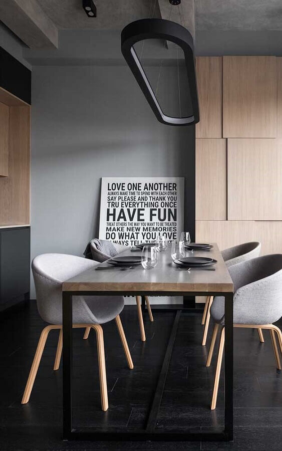sala de jantar moderna decorada com quadros com frases grande Foto Wood Save