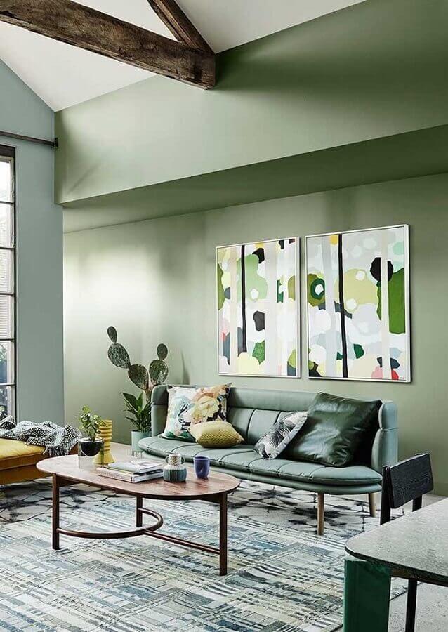 sala verde decorada com mesa de centro oval Foto Architecture Art Designs