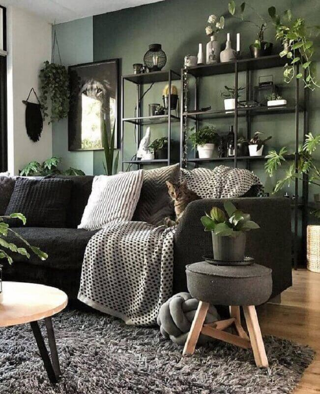 sala verde decorada com vários vasos de plantas e sofá preto Foto Homedit