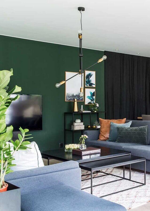 sala verde moderna decorada com sofá cinza Foto Futurist Architecture