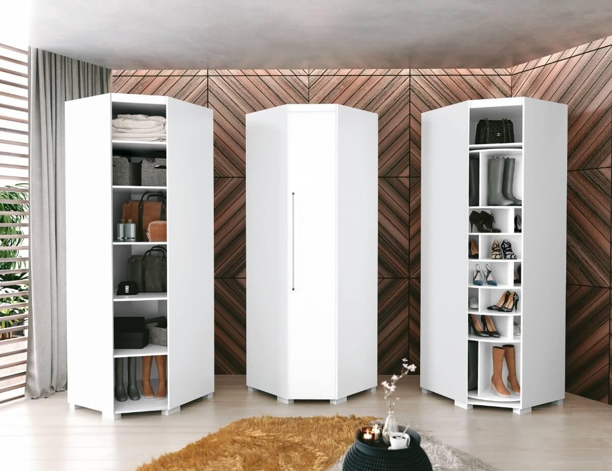 Sapateira de canto para quarto moderno e organizado