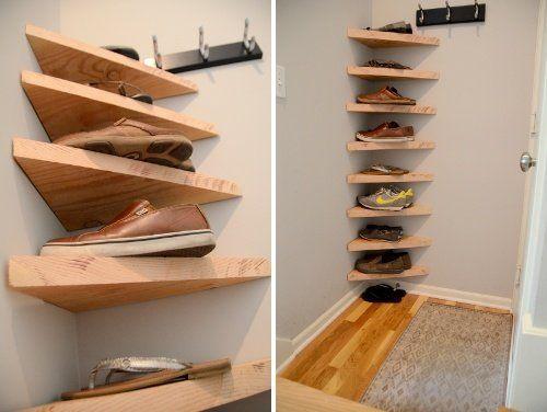 Faça você mesmo a sapateira de canto de madeira