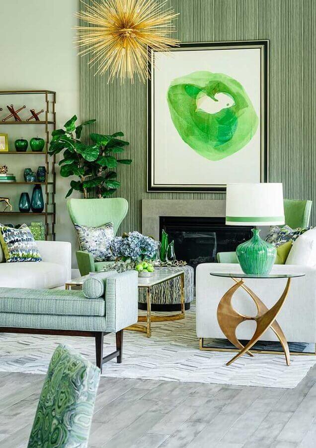 sofá branco para decoração de sala verde Foto Pinterest