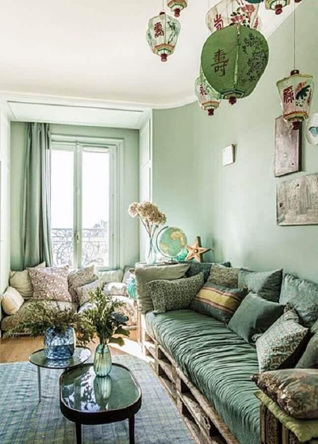 sofá de pallet para decoração de sala verde clara Foto Simples Decoração