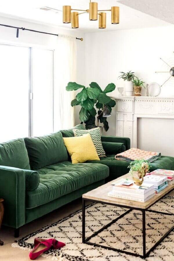 sofá para decoração de sala verde e branca Foto MeuEstiloDecor