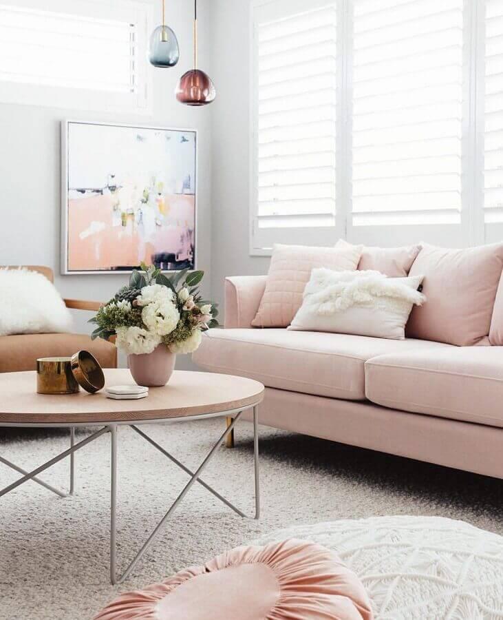 sofá rosa pastel para sala branca decorada Foto Pinterest