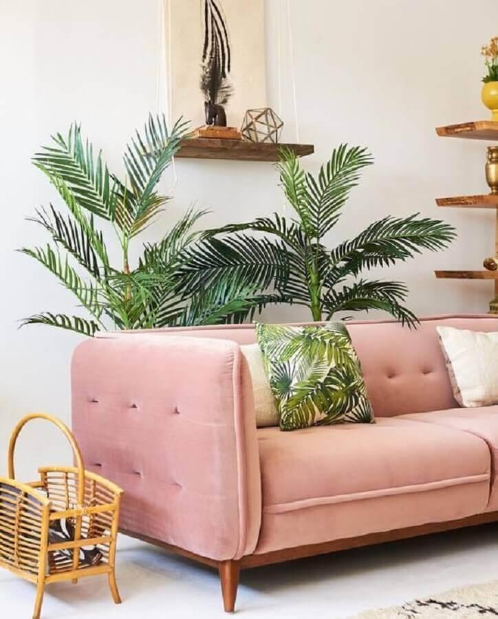 sofá rosa pastel para sala decorada com vasos de plantas Foto Clem Around The Corner