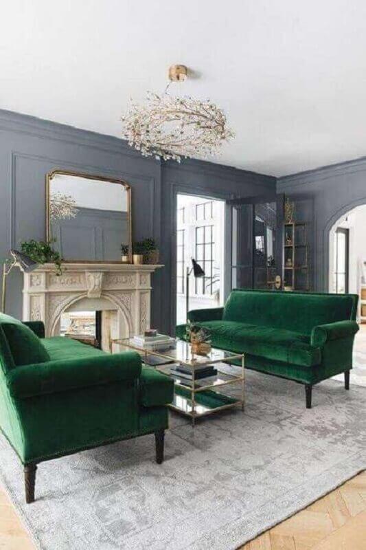 sofá verde para sala cinza sofisticada e clássica Foto Pinterest