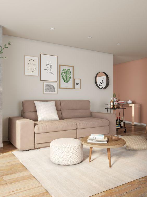 Sala com sofá 2 lugares na cor bege