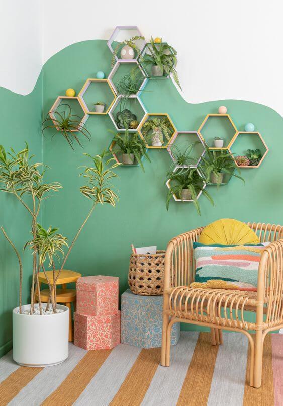 Suporte de madeira para vaso de plantas
