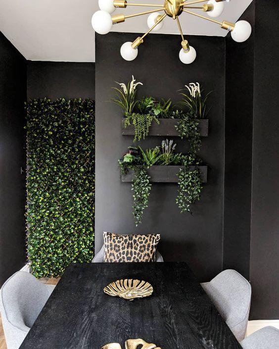 Suporte de plantas para sala moderna com jardim vertical