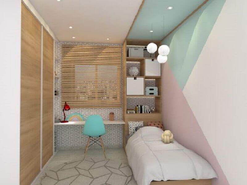 tinta e cadeira verde menta para quarto de solteiro planejado Foto A + G Arquitetura e Engenharia