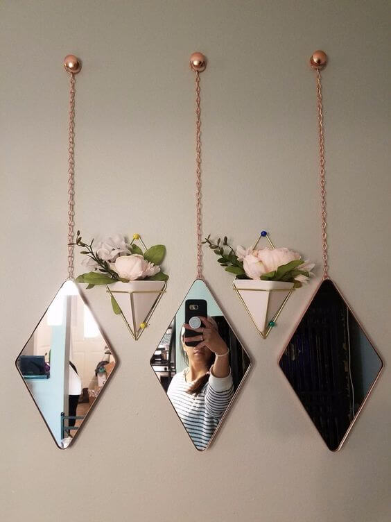 Vaso de parede com espelho moderno