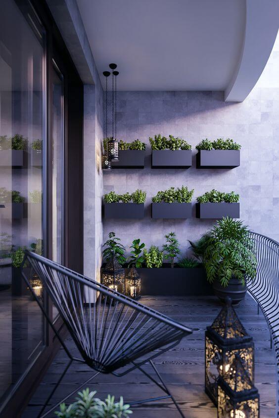 Jardim vertical com vaso de parede