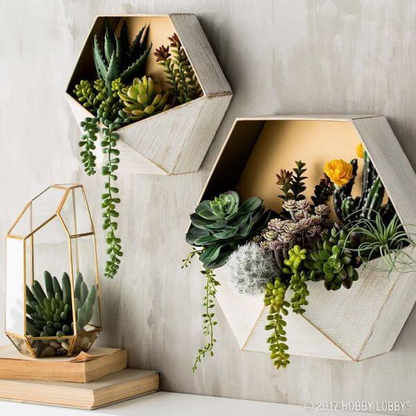 Vaso de parede com suculentas moderno