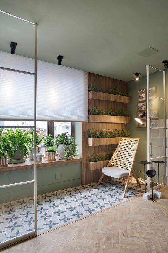 Vaso de parede de madeira moderno