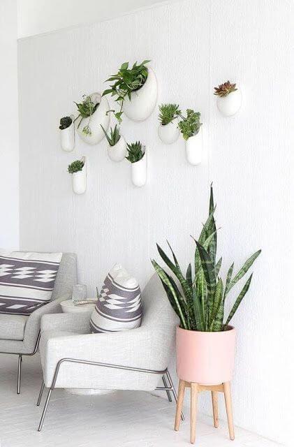 Vaso de parede moderno decorativo na sala de estar