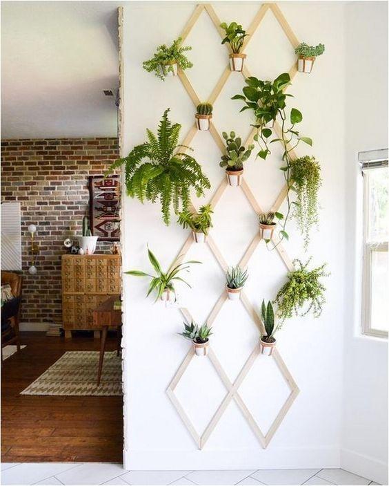 Suporte de madeira para vaso de parede para plantas