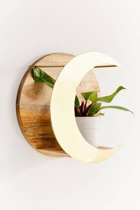 Vaso de parede redondo de madeira