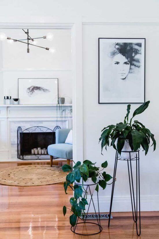 Também vale colocar os vasos de planta jiboia em suportes de ferro alto