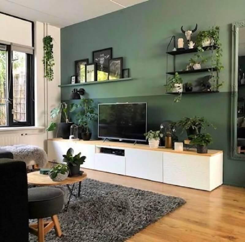 vasos de plantas para decoração de sala verde e cinza Foto Pinterest