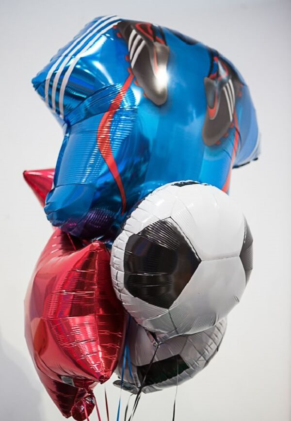 Balloons can't miss the soccer-themed birthday party