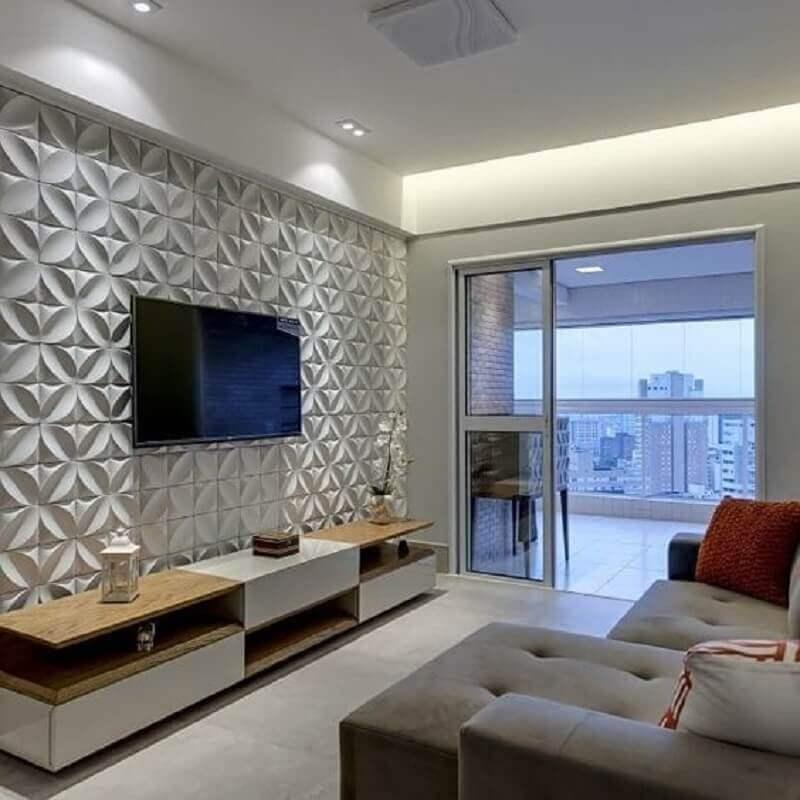 Decoração com papel de parede sala 3D Foto Pinterest